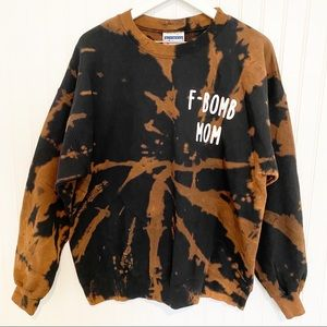Upcycled F-Bomb Mom tie dye pullover sweatshirt sweater black brown oversized L